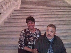 Sheila McLeod and William Joyner at a Harrisburg Rally